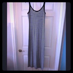 Dark Navy and white striped dress.
